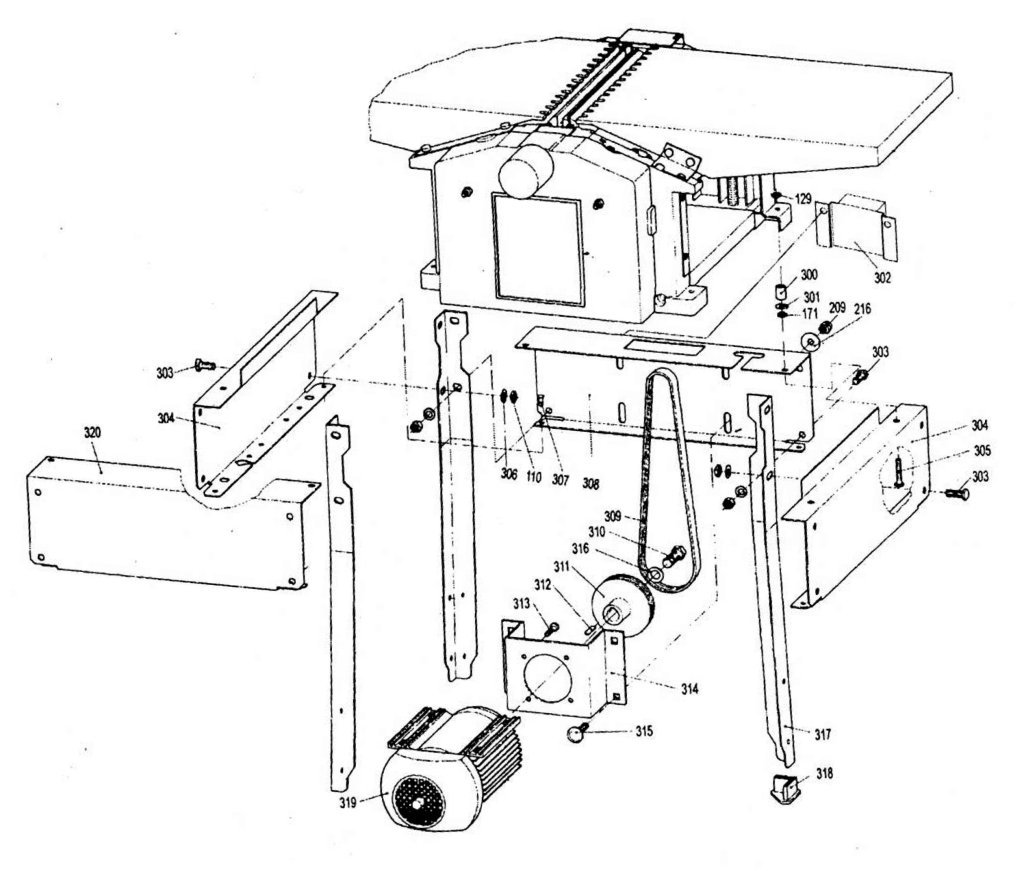 sip 01454 planer thicknesser diagram c