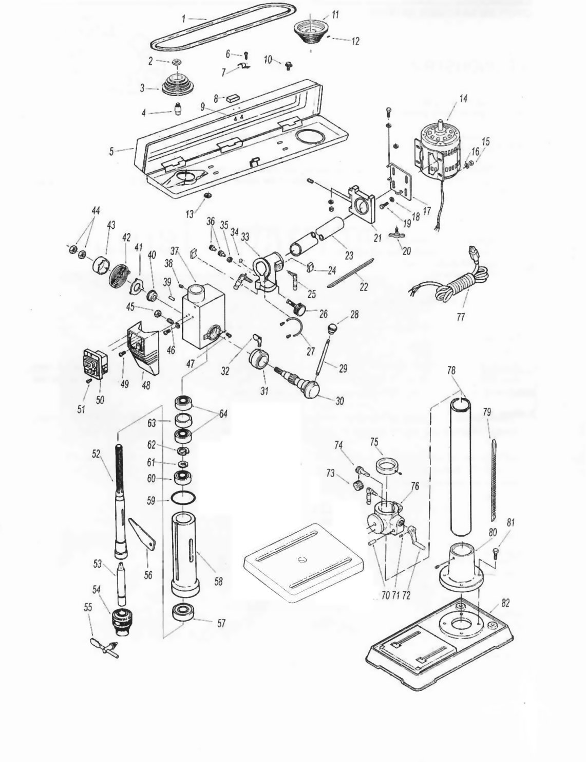 sip 07271 bench radial pillar drill diagram