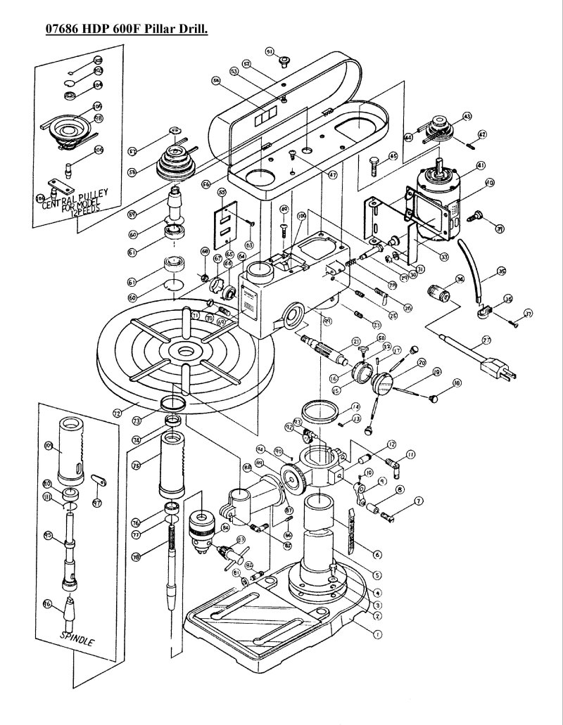 sip 07686 hdp 600f pillar drill diagram