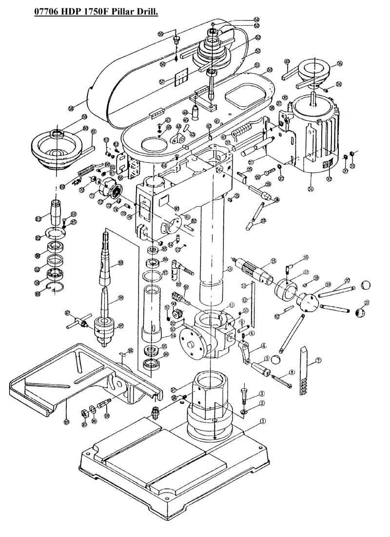 sip 07706 hdp 1750f pillar drills diagram