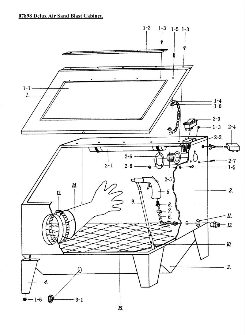 sip 07898 air sand blast cabinet diagram